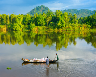 Madagascar river and native people