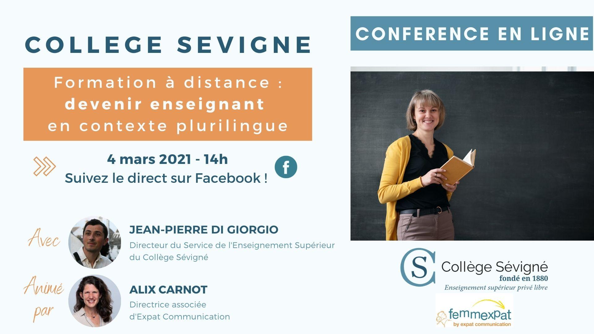 0403 - Conférence Online La formation à distance pour devenir enseignant grâce au Collège Sévigné