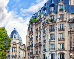 City, urban  view on building in  Paris