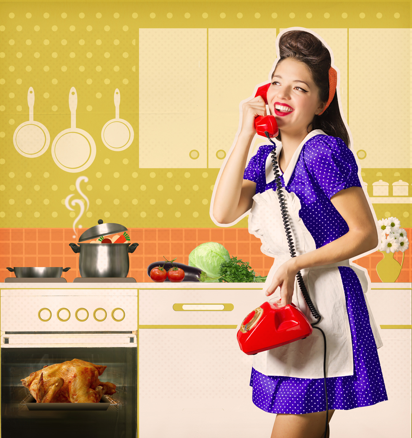 Retro woman talking on phone and cooks roasted chiicken on her kitchen interior. Poster on old paper