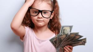 Monito transfert d'argent petite fille avec des billets de banque
