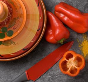 poivrons épices cuisiner couteau